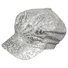 White Silver Metallic Animal Print Newsboy Cap Hat
